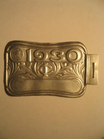 plaque velo 1930