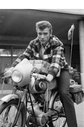 Johnny Hallyday on Motorcycle